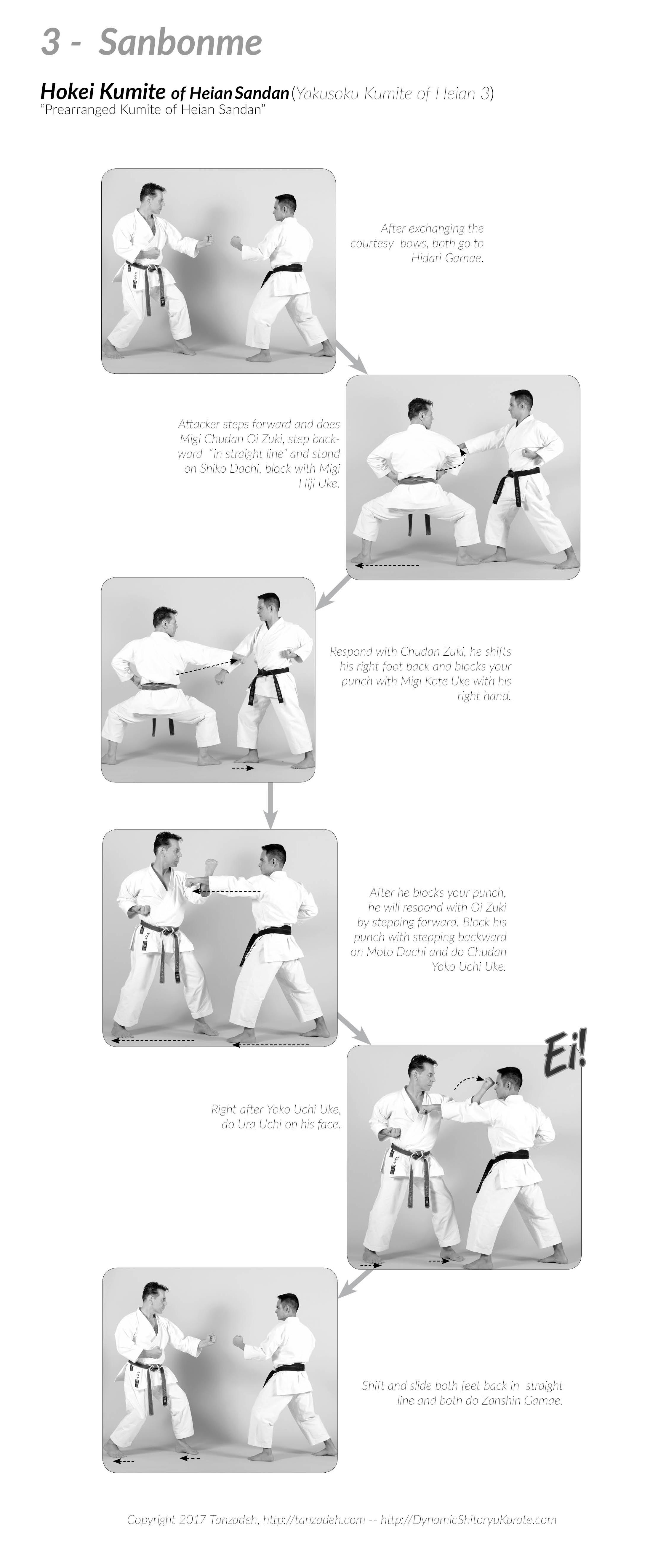 Hokei Kumite Heian Sandan, Yokusoku Kumite of Heian Sandan